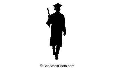 Silhouette Man walking to the graduation ceremony.