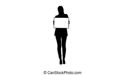 Wide shot. Front view. Silhouette Muslim woman's protest Lady dressed in black and holding a blank card. Professional shot in 4K resolution. 043. You can use it e.g. in your medical, commercial video, business, presentation, broadcast