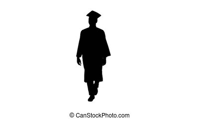 Wide shot. Front view. Silhouette Smiling African American Male Student in graduation robe walking. Professional shot in 4K resolution. 051. You can use it e.g. in your medical, commercial video, business, presentation, broadcast