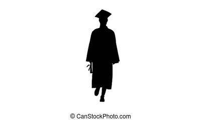 Wide shot. Front view. Silhouette Smiling female student in graduation robe walking with her diploma. Professional shot in 4K resolution. 043. You can use it e.g. in your medical, commercial video, business, presentation, broadcast
