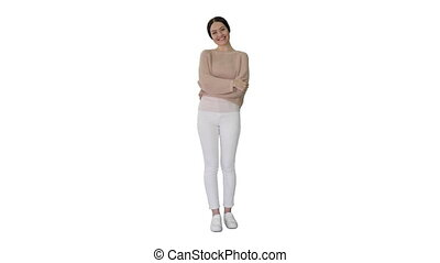 Wide shot. Happy young woman waves hand to greet you on white background. Professional shot in 4K resolution. 4151. You can use it e.g. in your commercial video, business, presentation, broadcast