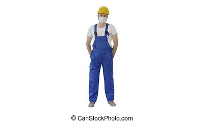 Wide shot. Masked construction man in hardhat on white background. Professional shot in 4K resolution. 53. You can use it e.g. in your medical, commercial video, business, presentation, broadcast