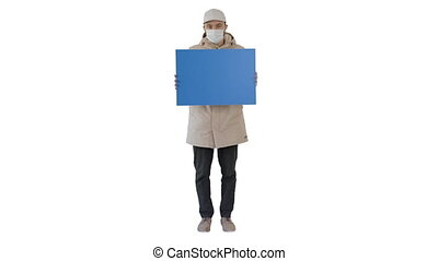 Casual man with copy space billboard wearing protective mask on white background.