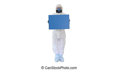 Wide shot. Mockup blue screen. Lab scientist in safety suit holding board on white background. Professional shot in 4K resolution. 53. You can use it e.g. in your medical, commercial video, business, presentation, broadcast