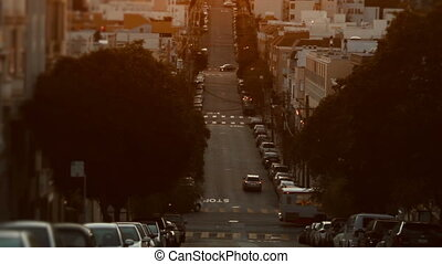 Wide shot of a typical San Francisco street. Cinematic shot.