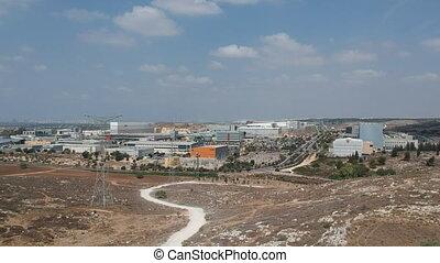 Wide shot of industrial area shot clip