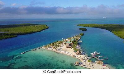 Wide shot of Island capturing amazing surrounding landscape...