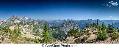 Wide Shot of North Cascades mountain range in Summer