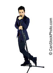 wide shot of singer with microphone white background