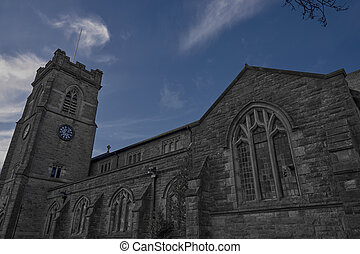 wide shot of St John Thornham Church in Castleton Rochdale