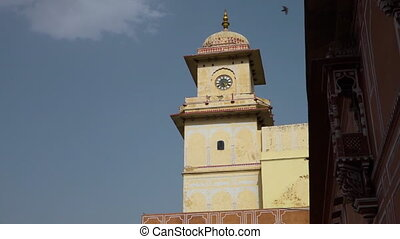 Wide shot of the City Palace Clock Tower in Jaipur