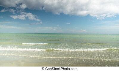A wide shot of the ocean's horizon.