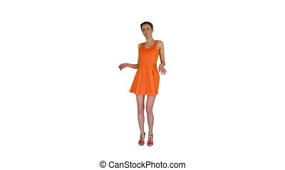 Wide shot. Short-haircutted pretty woman dancing in orange sundress on white background. Professional shot in 4K resolution. 023. You can use it e.g. in your commercial video, business, presentation, broadcast