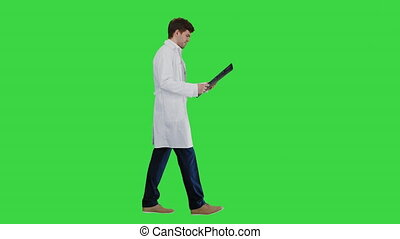 Wide shot. Side view. Concentrated male doctor examining computed tomography while walking on a Green Screen, Chroma Key. Professional shot in 4K resolution. 047. You can use it e.g. in your medical, commercial video, business, presentation, broadcast