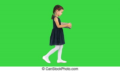 Wide shot. Side view. Little girl in black dress walking with a gift box in her hands on a Green Screen, Chroma Key. Professional shot in 4K resolution. 060. You can use it e.g. in your medical, commercial video, business, presentation, broadcast