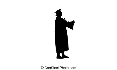 Wide shot. Side view. Silhouette Happy graduate woman holding diploma and thumb up. Professional shot in 4K resolution. 043. You can use it e.g. in your medical, commercial video, business, presentation, broadcast