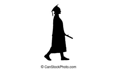 Wide shot. Side view. Silhouette Smiling female student in graduation robe walking with her diploma. Professional shot in 4K resolution. 043. You can use it e.g. in your medical, commercial video, business, presentation, broadcast