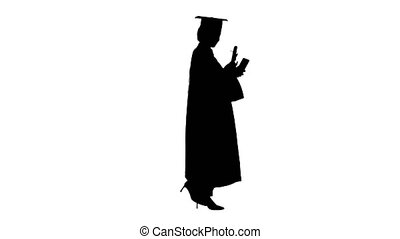 Wide shot. Side view. Smiling African American female graduate making selfie with diploma, Alpha Channel Professional shot in 4K resolution. 046. You can use it e.g. in your medical, commercial video, business, presentation, broadcast