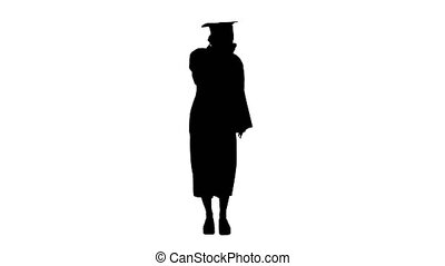 Wide shot. Silhouette Blonde graduate student standing and coughing. Professional shot in 4K resolution. 53. You can use it e.g. in your medical, commercial video, business, presentation, broadcast