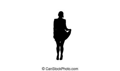 Silhouette Brunette school girl dancing. - Wide shot....
