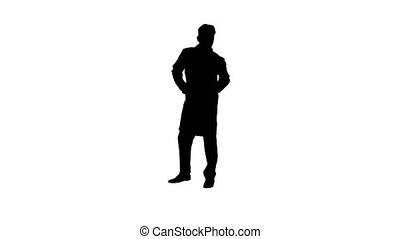 Wide shot. Silhouette Doctor counting euro and dancing. Professional shot in 4K resolution. 022. You can use it e.g. in your commercial video, business, presentation, broadcast