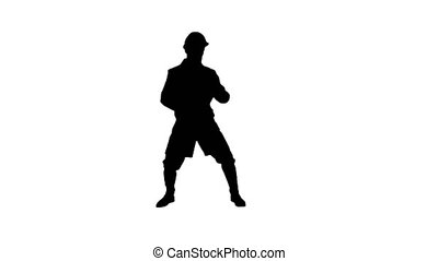 Silhouette Engineer man dancing hip-hop in funny way.