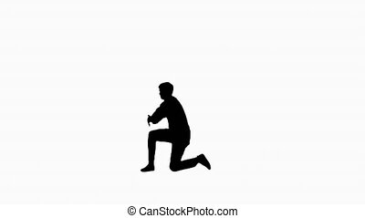 Silhouette Excited office worker break dancing alone.