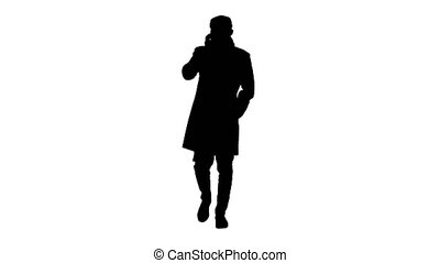 Wide shot. Silhouette Fashionable gentleman in medical mask calling on the phone. Professional shot in 4K resolution. 53. You can use it e.g. in your medical, commercial video, business, presentation, broadcast