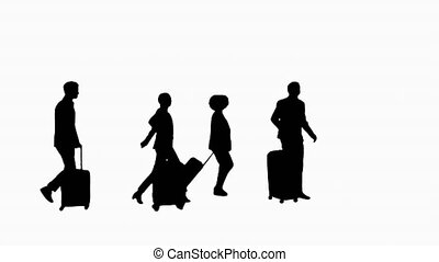 Silhouette Four diverse business people with luggage ...