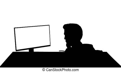 Silhouette Gamer or hacker answering a phone call. - Wide ...
