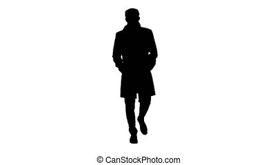 Wide shot. Silhouette Gentleman with medical face mask walking. Professional shot in 4K resolution. 53. You can use it e.g. in your medical, commercial video, business, presentation, broadcast