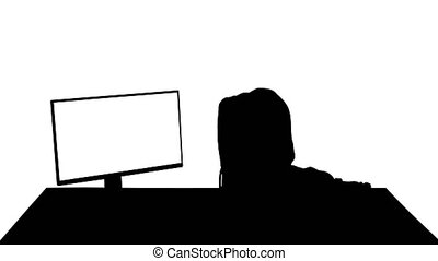 Wide shot. Silhouette Hacker in hood cracking code using pc. Professional shot in 4K resolution. 041. You can use it e.g. in your medical, commercial video, business, presentation, broadcast