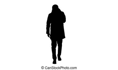 Wide shot. Silhouette Man in winter outfit walking and coughing. Professional shot in 4K resolution. 53. You can use it e.g. in your medical, commercial video, business, presentation, broadcast