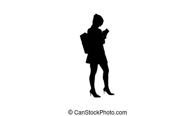 Silhouette Pretty student with backpack writing notes. -...