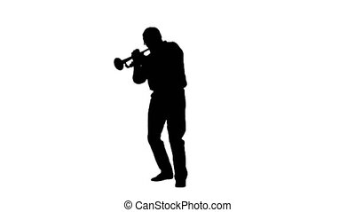 Wide shot. Silhouette Senior musician playing a trumpet. Professional shot in 4K resolution. 059. You can use it e.g. in your medical, commercial video, business, presentation, broadcast
