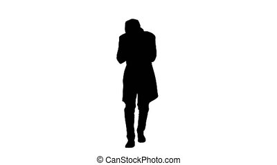 Wide shot. Silhouette Stylish gentleman walking and coughing. Professional shot in 4K resolution. 53. You can use it e.g. in your medical, commercial video, business, presentation, broadcast
