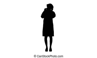 Silhouette Wear the mask! Female doctor wearing a mask and pointing her finger up.