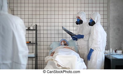 Corona virus patient lying in bed in the hospital.
