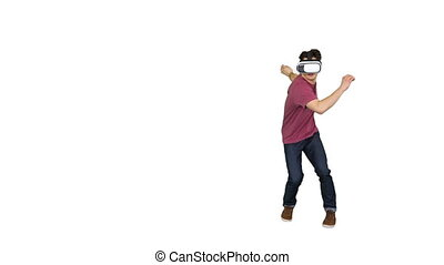 Man in Virtual Reality Glasses wading through dangerous ...