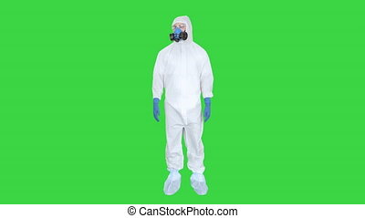 Virologist Man in Protective Costume checking the situation ...