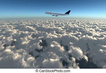 wide sky airplane