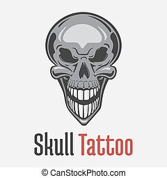 Wide smiling skeleton skull tattoo showing his teeth. Dead ...