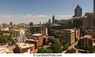 Wide Static Aerial Footage Downtown City Skyline Atlanta -...