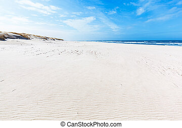 Wide summer beach and dunes in Slowinski National Park,...