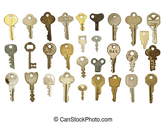 Wide variety of old metal keys including steel and brass varieties isolated on a white background. 30 keys total.