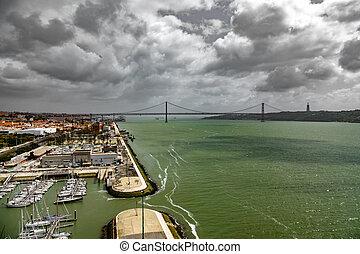 Wide view 25 de Abril Bridge in Lisbon over Tagus river