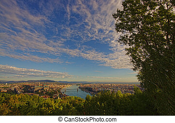 wide view of Budapest, Hungary in a sunny day