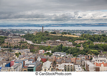 Wide view of Carlton hill in Edinburgh - Edinburgh skyline...