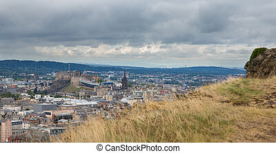 Wide view of Edinburgh skyline - Edinburgh skyline with ...