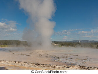 Wide View of Steam Rising from Geyser